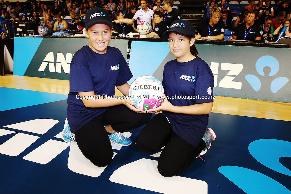 ANZ Future Captains Billie-Jo Hickton aged 10 (L) and Melissa Heavey aged 12 (R). 2015 ANZ Championship, Northern Mystics v Central Pulse, The Trusts Arena, Auckland, New Zealand. Photo: Anthony Au-Yeung / www.photosport.co.nz