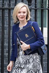 © Licensed to London News Pictures. 25/10/2016. London, UK. Justice Secretary Elizabeth Truss arrives at Downing Street to attend the government sub-committee on airports, which is expected to rule today on the expansion of either Gatwick of Heathrow airport. Photo credit: Rob Pinney/LNP