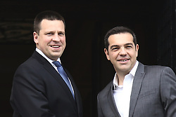 May 28, 2017 - Athens, Attica, Greece - PM Alexis Tsipras (R) wellcomes his Estonian counterpart Juri Ratas, in Athens on May 29, 2017  (Credit Image: © Panayotis Tzamaros/NurPhoto via ZUMA Press)