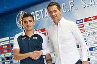 Getafe CF's new player Mauro Arambarri (l) with the Sports Director Ramon Planes during his official presentation.  August 10, 2017. (ALTERPHOTOS/Acero)