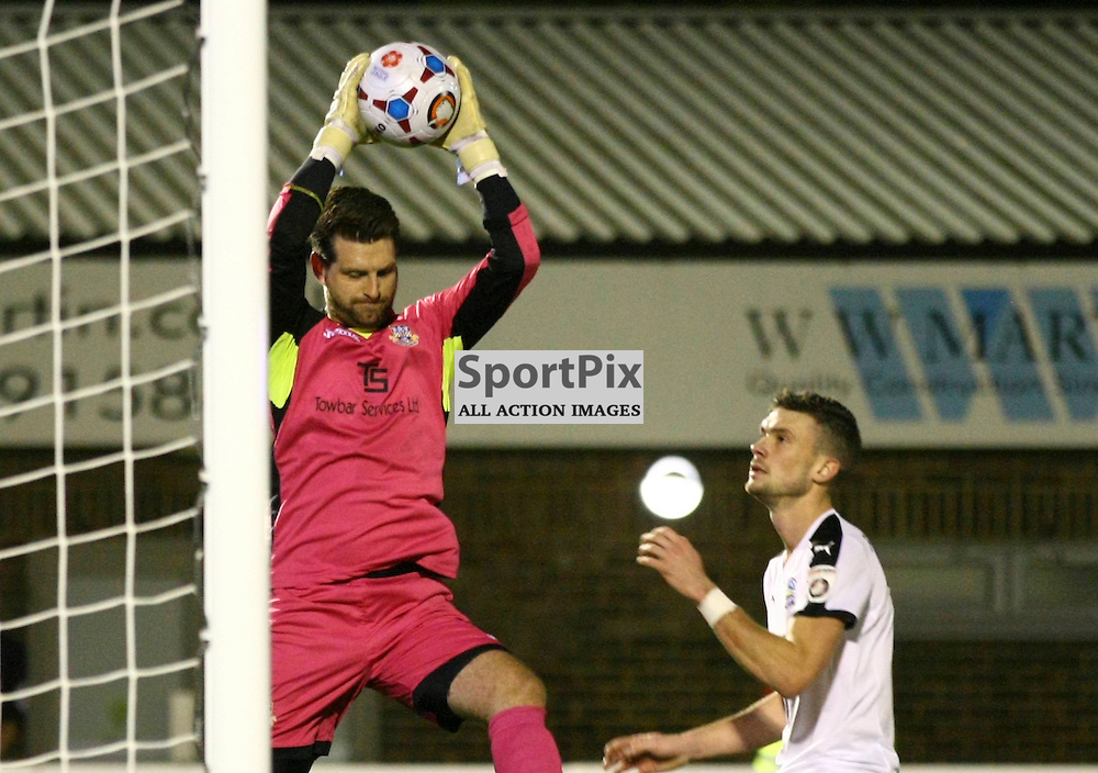 Eastleigh's keeper Ross Flitney (1) calmly collects the ball. Dover Athletic v Eastleigh. Vanarama National League. 10  November 2015. (c) Matt Bristow | SportPix.org.uk