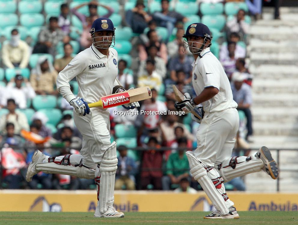 Indian batsman Virender Sehwag and  Gautam Gambhir run against New Zealand during The India vs New Zealand 3rd test match day-2 Played at Vidarbha Cricket Association Stadium, Jamtha, Nagpur, 21, November 2010 (5-day match)
