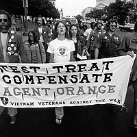 Agent Orange protestors march down Pennsylvania Avenue in Washington, DC on May 13, 1982.