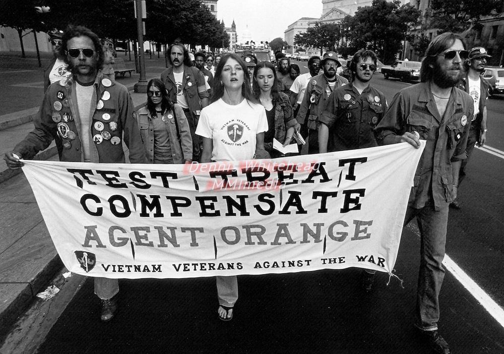Agent Orange protestors march along Pennsylvania Avenue in Washington, DC on May 13, 1982.