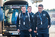 Hearts players (LtoR) Peter Haring, Jimmy Dunne and Olly Lee arrive for the Betfred League Cup semi-final match between Heart of Midlothian FC and Celtic FC at the BT Murrayfield Stadium, Edinburgh, Scotland on 28 October 2018.