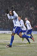 Bury Forward, Leon Clarke celebrates his second goal in as many minutes during the Sky Bet League 1 match between Bury and Walsall at Gigg Lane, Bury, England on 16 January 2016. Photo by Mark Pollitt.