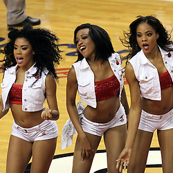 Jun 21, 2012; Miami, FL, USA; The Miami Heat cheerleaders perform during the first quarter in game five in the 2012 NBA Finals against the Oklahoma City Thunder at the American Airlines Arena. Mandatory Credit: Derick E. Hingle-US PRESSWIRE