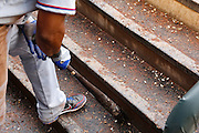 MINNEAPOLIS, MN - APRIL 15: General view of the dugout floor and steps covered in dirt and sunflower seeds as a Texas Rangers player makes his way to the on deck circle during the game against the Minnesota Twins at Target Field on April 15, 2012 in Minneapolis, Minnesota. (Photo by Joe Robbins)