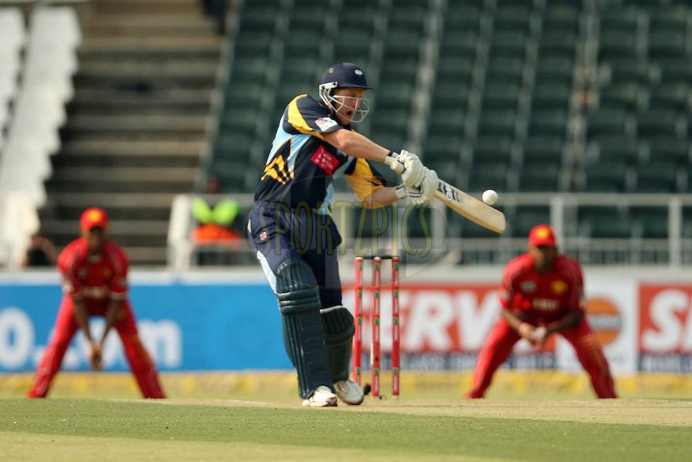 Andrew Gale hits the first boundary of the innings during 1st Qualifying match of the Karbonn Smart CLT20 South Africa between Uva Next and Yorkshire held at The Wanderers Stadium in Johannesburg, South Africa on the 9th October 2012..Photo by Jacques Rossouw/SPORTZPICS/CLT20
