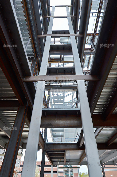 Camera View: North. First Floor view, Elevator shaft and columns. Central Connecticut State University. New Academic Building. Project No: BI-RC-324. Architect: Burt Hill Kosar Rittelmann Associates. Contractor: Gilbane Building Company, Glastonbury, CT.