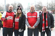 Optimistic Rotherham fans before the game during the The FA Cup 3rd round match between Manchester City and Rotherham United at the Etihad Stadium, Manchester, England on 6 January 2019.