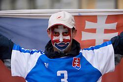 Slovakian fans in the Bratislava's streets before FIFA World Cup Qualifications match between Slovakia and Slovenia, on October 10, 2009, near Tehelne Pole Stadium, Bratislava, Slovakia.  (Photo by Vid Ponikvar / Sportida)