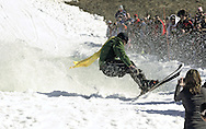 Warwick, NY - A skier starts to fall after successfully crossing the water at the end of a run during the Spring Rally at Mount Peter in Warwick on March 29, 2008.