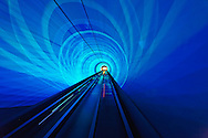 Lighted subway tunnel, Shanghai, China