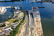 Nederland, Noord-Holland, Amsterdam, 14-06-2012; .Zicht op Coentunnel en bouw Tweede Coentunnel. Ring A10 (A10 west)..Construction of the second Coentunnel (tunnel) , main road connecting south and north of Amsterdam and nort-west Netherlands. .luchtfoto (toeslag), aerial photo (additional fee required).foto/photo Siebe Swart