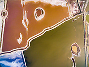 "YUNCHENG, CHINA - <br /> <br /> Stunning Aerial images of Salt Lake in China<br /> <br /> Aerial view of colorful Salt Lake, a world-renowned inland salt lake known as ""Dead Sea of China\"" on March 20, 2017 in Yuncheng, Shanxi Province of China. As temperature rises in Spring, the color of Salt Lake changes. Seen from above, colorful Salt Lake colors looks like a color palette. <br /> ©Exclusivepix Media"