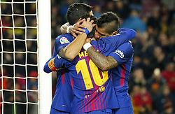 January 7, 2018 - Barcelona, Catalonia, Spain - Leo Messi, Luis Suarez and Paulinho Bezerra celebration during the La Liga match between FC Barcelona and Levante UD, in Barcelona, on January 07, 2018. (Credit Image: © Joan Valls/NurPhoto via ZUMA Press)