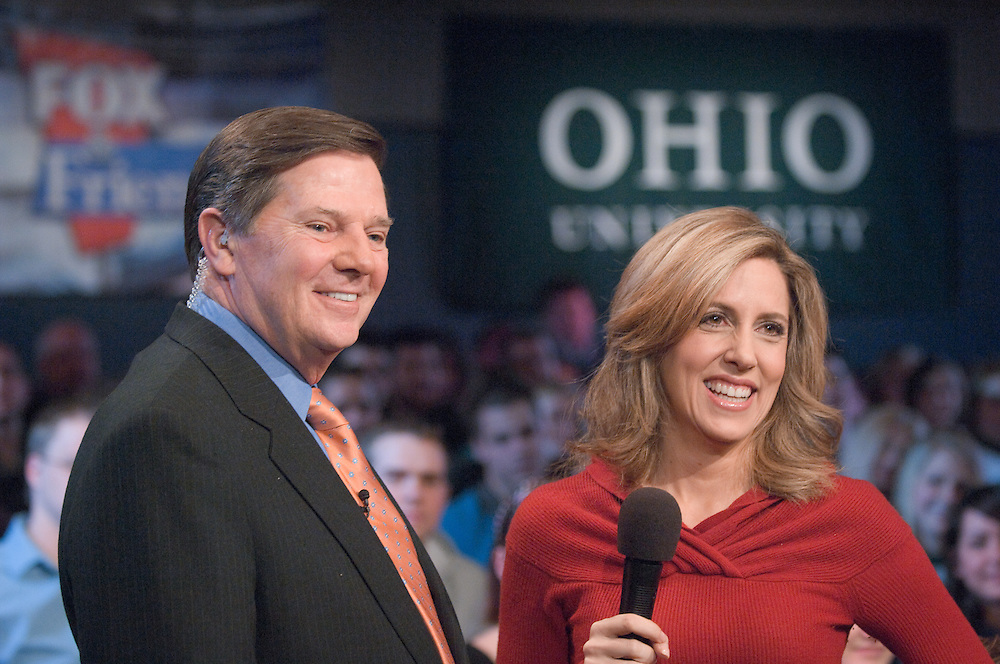 18585FOX News at Ohio University in Baker Center Theater on March 5, 2008...Thomas D. DeLay and  Alisyn Camerota
