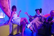 ISA TAPIA; STEFANIA PRAMMA; , Pop party. the birthday celebration of twin sisters Valeria Napoleone and Stefania Pramma. Studio Voltaire, London SW4. 17 May 2013.