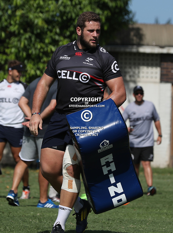 DURBAN, SOUTH AFRICA - FEBRUARY 16: Thomas du Toit during the Cell C Sharks training session at Growthpoint Kings Park on February 16, 2017 in Durban, South Africa. (Photo by Steve Haag/Gallo Images)