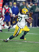 Green Bay Packers running back Eddie Lacy (27) runs the ball for a gain of 14 yards in the third quarter during the NFL NFC Divisional round playoff football game against the Arizona Cardinals on Saturday, Jan. 16, 2016 in Glendale, Ariz. The Cardinals won the game in overtime 26-20. (©Paul Anthony Spinelli)