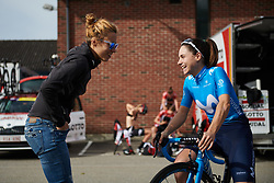 Laura Weislo and Lourdes Oyarbide (ESP) laugh at Ladies Tour of Norway 2018 Stage 3. A 154 km road race from Svinesund to Halden, Norway on August 19, 2018. Photo by Sean Robinson/velofocus.com