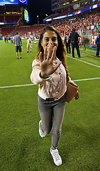 SANTA CLARA, USA - Saturday, July 30, 2016: Goal.com's Melissa Reddy after the International Champions Cup 2016 game between AC Milan and Liverpool on day ten of the club's USA Pre-season Tour at the Levi's Stadium. (Pic by David Rawcliffe/Propaganda)