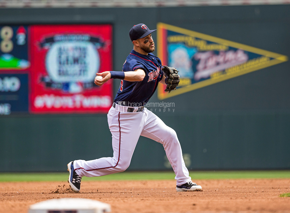 MINNEAPOLIS, MN- MAY 31: Trevor Plouffe #24 of the Minnesota Twins throws against the Toronto Blue Jays on May 31, 2015 at Target Field in Minneapolis, Minnesota. The Twins defeated the Blue Jays 6-5. (Photo by Brace Hemmelgarn) *** Local Caption *** Trevor Plouffe