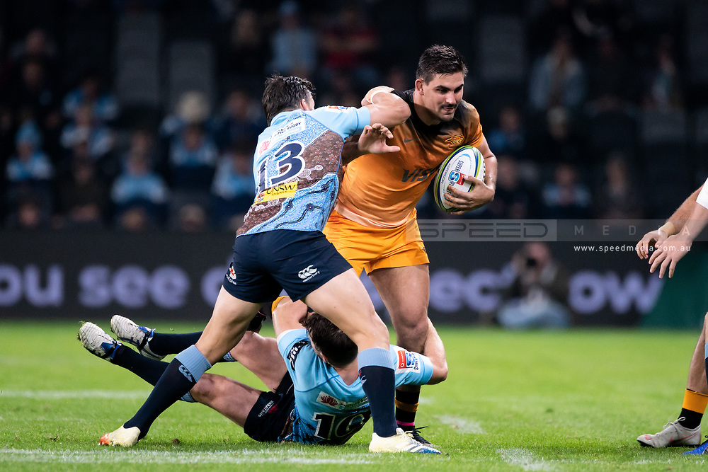 SYDNEY, AUSTRALIA - MAY 25: Jaguares player Pablo Matera (6) tackled by Waratahs player Bernard Foley (10) at week 15 of Super Rugby between NSW Waratahs and Jaguares on May 25, 2019 at Western Sydney Stadium in NSW, Australia. (Photo by Speed Media/Icon Sportswire)