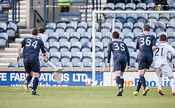 Raith Rovers Callum Booth scoring their second goal from a penalty.<br /> Half time : Raith Rovers 2 v 1 Falkirk, Scottish Championship game today at Starks Park.<br /> &copy; Michael Schofield.