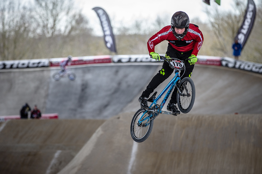 #175 (PAULSEN Emil Svane) DEN at Round 2 of the 2018 UCI BMX Superscross World Cup in Saint-Quentin-En-Yvelines, France.