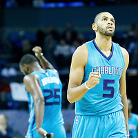 01 November 2015: Charlotte Hornets forward Nicolas Batum (5) celebrates during the Atlanta Hawks 94-92 victory over the Charlotte Hornets, at the Time Warner Cable Arena, in Charlotte, North Carolina, USA.