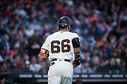 San Francisco Giants left fielder Gorkys Hernandez (66) runs to the dugout after making a RBI against the Pittsburgh Pirates at AT&T Park in San Francisco, California, on July 25, 2017. (Stan Olszewski/Special to S.F. Examiner)