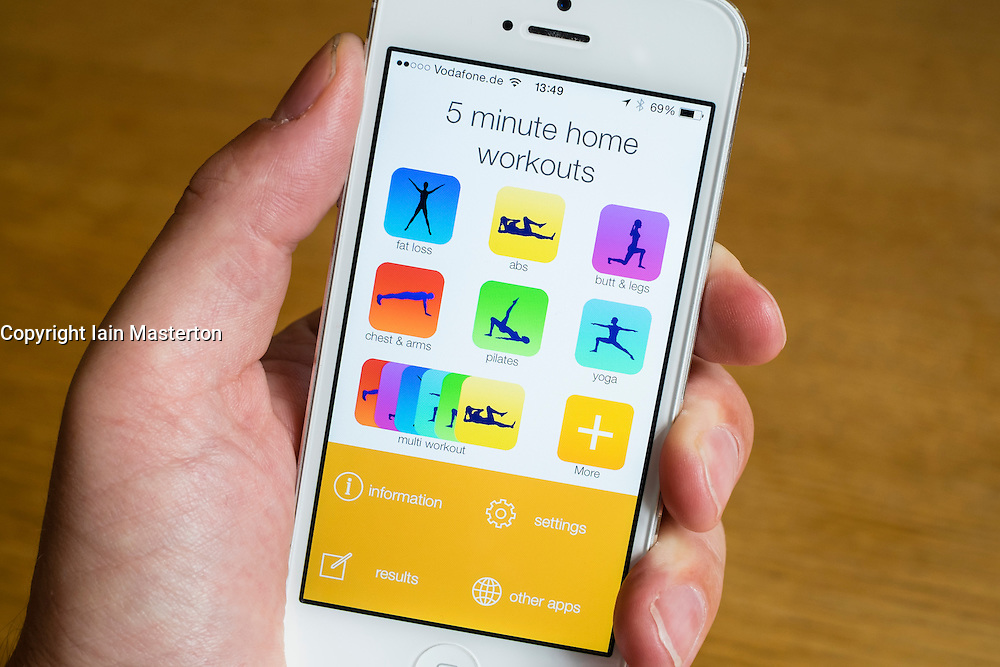 Detail of a health ,sport and fitness app on a iPhone smart phone