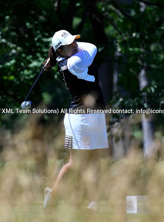 OLYMPIA FIELDS, IL - JULY 01: Inbee Park of South Korea plays the ball from the fifth tee during the third round of the 2017 KMPG PGA Championship at Olympia Fields on July 1, 2017 in Olympia Fields, Illinois. (Photo by Quinn Harris/Icon Sportswire)