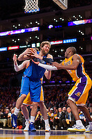 02 April 2013: Forward (41) Dirk Nowitzki of the Dallas Mavericks grabs a rebound against the Los Angeles Lakers during the second half of the Lakers 101-81 victory over the Mavericks at the STAPLES Center in Los Angeles, CA.