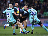 Rugby Union - 2019 / 2020 Gallagher Premiership - Harlequins vs. Gloucester<br /> <br /> Harlequins' James Lang is tackled by Gloucester's Danny Cipriani, at The Stoop.<br /> <br /> COLORSPORT/ASHLEY WESTERN