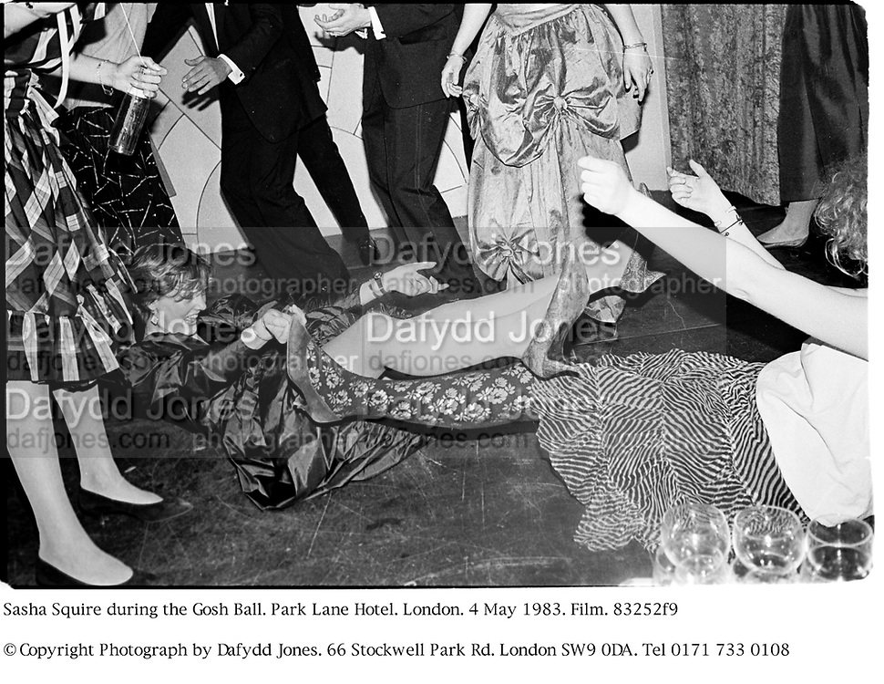 Sasha Squire during the Gosh Ball. Park Lane Hotel. London. 4 May 1983. Film. 83252f9<br />