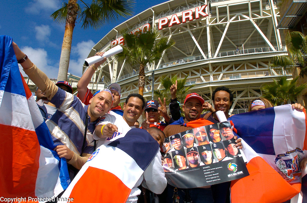 Domincan Republic fans show their support before the start of the game against Team Cuba in Semi-Final action of the World Baseball Classic at PETCO Park, San Diego, CA.