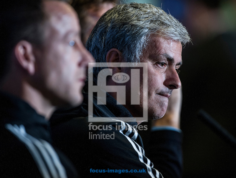 Jose Mourinho, manager of Chelsea during a press conference ahead of their UEFA Champions League semi final against Atletico Madrid at Stamford Bridge, London <br /> Picture by Daniel Hambury/Focus Images Ltd +44 7813 022858<br /> 29/04/2014