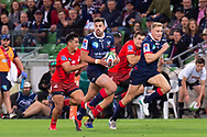 MELBOURNE, AUSTRALIA - APRIL 06: Tom English of the Rebels runs the ball downfield at round 8 of The Super Rugby match between Melbourne Rebels and Sunwolves on April 06, 2019 at AAMI Park in VIC, Australia. (Photo by Speed Media/Icon Sportswire)