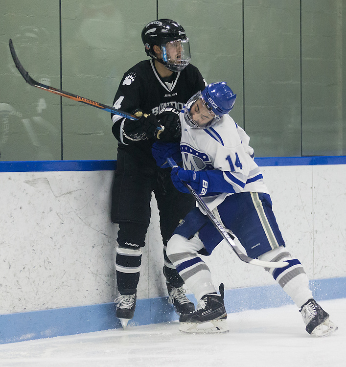 Cam MacDonald during the second period of a NCAA Division III hockey game between Colby College and Bowdoin College on December 4, 2015 at Alfond Rink on the campus of Colby College in Waterville, ME.  (Dustin Satloff)