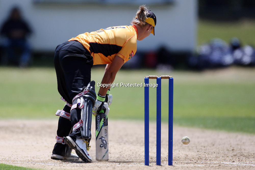 Sophie Devine blocks out a yorker. Women's One Day Cricket, Action Cricket Cup, Auckland Hearts v Wellington Blaze, Colin Maiden Park, Ground 2, Auckland, Saturday 15 January 2011, . Photo: Ella Brockelsby/photosport.co.nz
