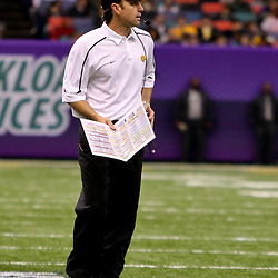 Dec 20, 2009; New Orleans, LA, USA; Southern Miss Golden Eagles head coach Darrell Wyatt on the field during the first half of the 2009 New Orleans Bowl at the Louisiana Superdome.  Mandatory Credit: Derick E. Hingle-US PRESSWIRE