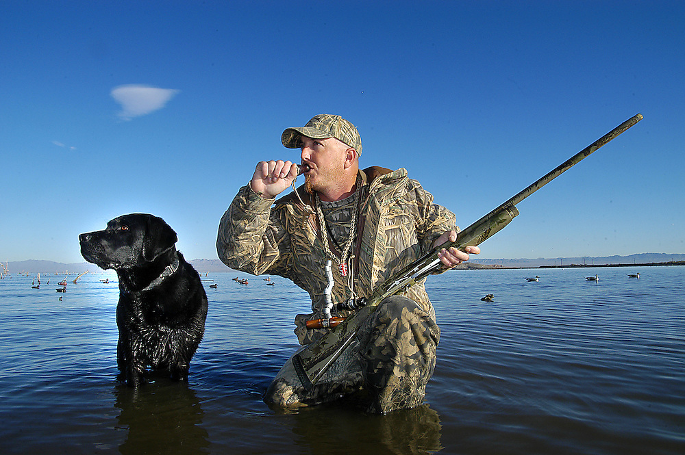 A duck hunter calls to a group of mallards in Southern California.