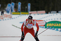 Tobias Eberhard (AUT) competes in the World Cup Biathlon men's Sprint Competition on March 13, 2009