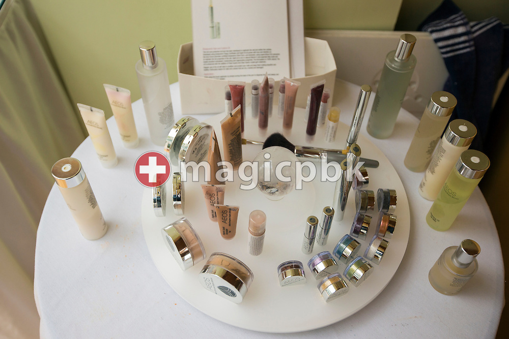 AEOS cosmetic products for testing in the seminar room at Dev Aura in Tetford, Lincolnshire, Great Britain, Monday, June 23, 2014. (Photo by Patrick B. Kraemer / MAGICPBK)