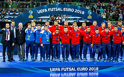 Team Russia during medal ceremony after the Final match of UEFA Futsal EURO 2018, on February 10, 2018 in Arena Stozice, Ljubljana, Slovenia. Photo by Ziga Zupan / Sportida