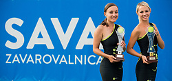 Spela Kosi and Tadeja Dolinsek posing with Trophies during Day 9 of ATP Challenger Zavarovalnica Sava Slovenia Open 2018, on August 11, 2018 in Sports centre, Portoroz/Portorose, Slovenia. Photo by Vid Ponikvar / Sportida