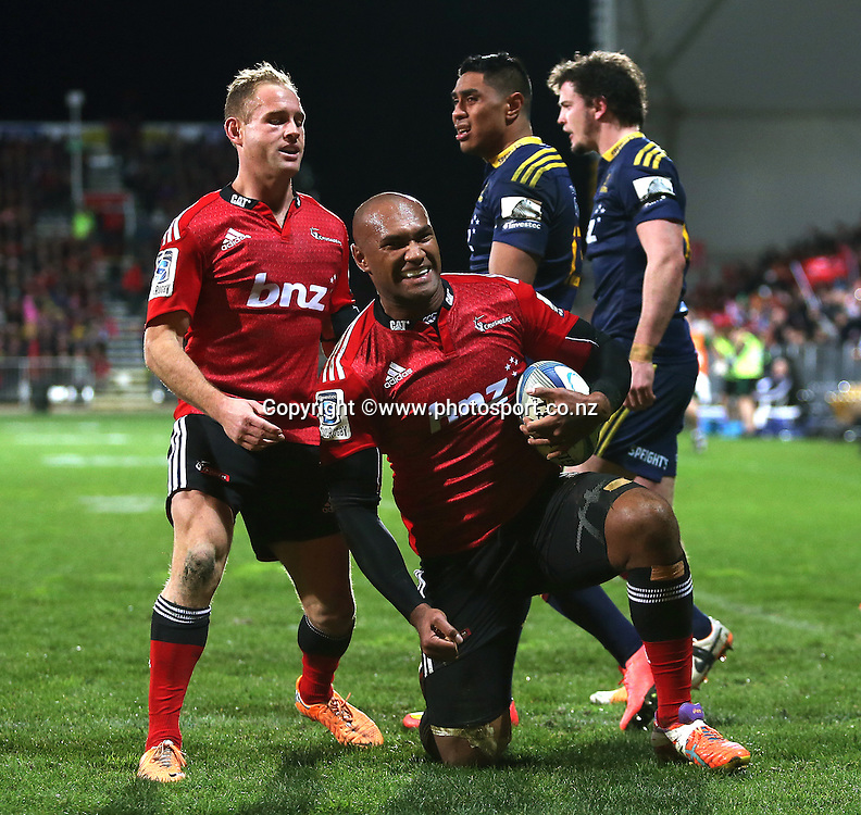 Nemani Nadolo of the Crusaders celebrates scoring a try during the Investec Super Rugby game between Crusaders v Highlanders at AMI Stadium, Christchurch. 12 July 2014 Photo: Joseph Johnson/www.photosport.co.nz